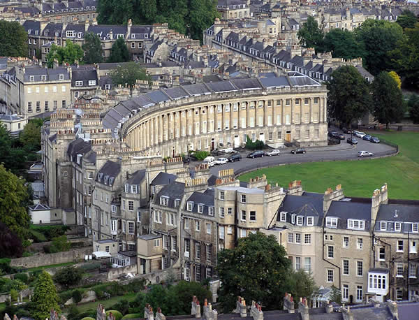 Royal Crescent Bath, viewed from a hot air balloon