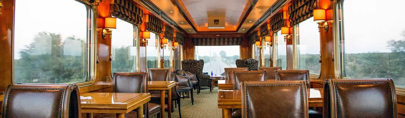 The elegant Restaurant Car on board The Blue Train