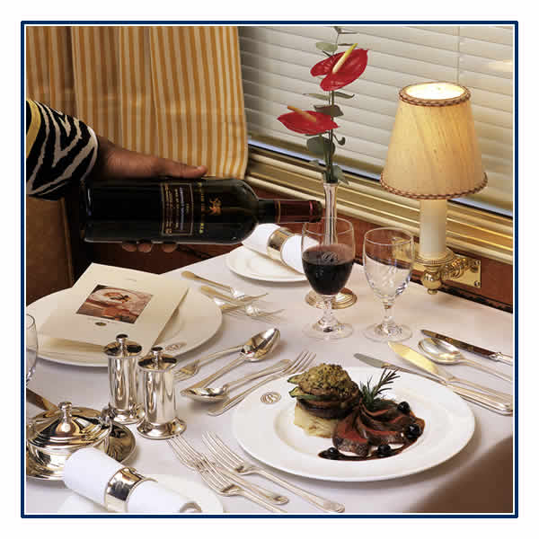 Superb cuisine on board the Blue Train