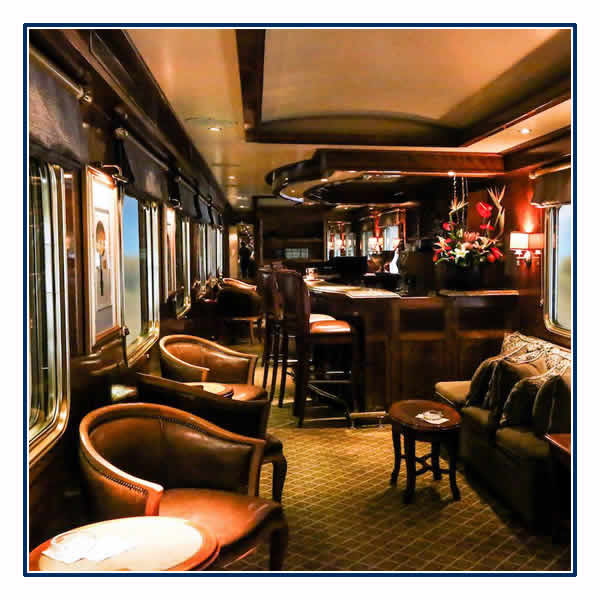 One of the elegant lounges on board The Blue Train