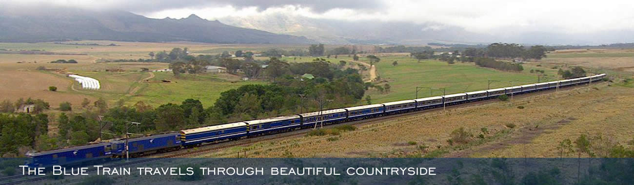 The Blue Train travels through beautiful countryside