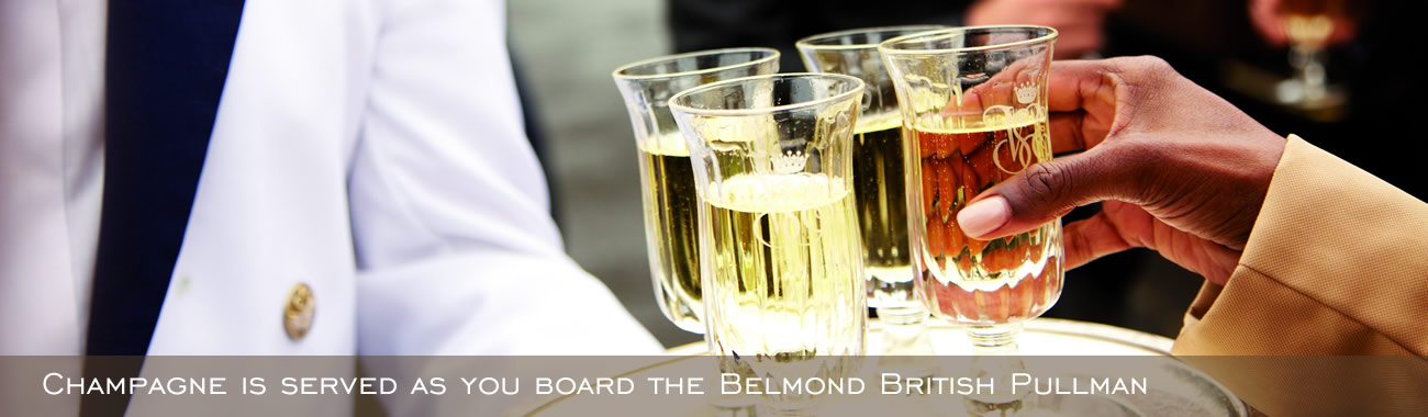 Champagne is served as you board the Belmond British Pullman