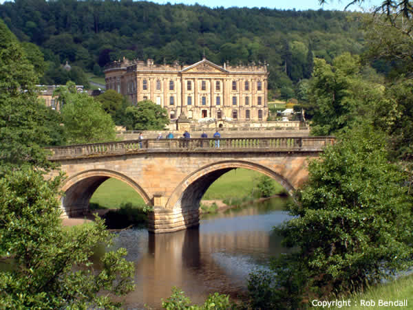 Chatsworth House over the river and bridge