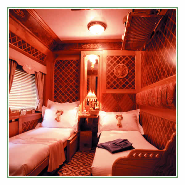 A luxurious State Cabin on board the Eastern & Oriental Express