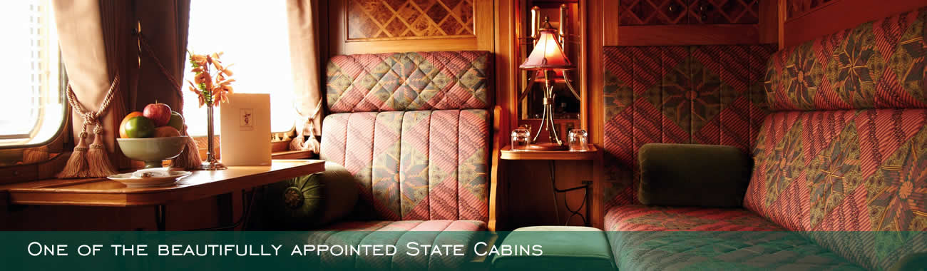 One of the beautifully appointed State Cabins on board the Eastern & Oriental Express