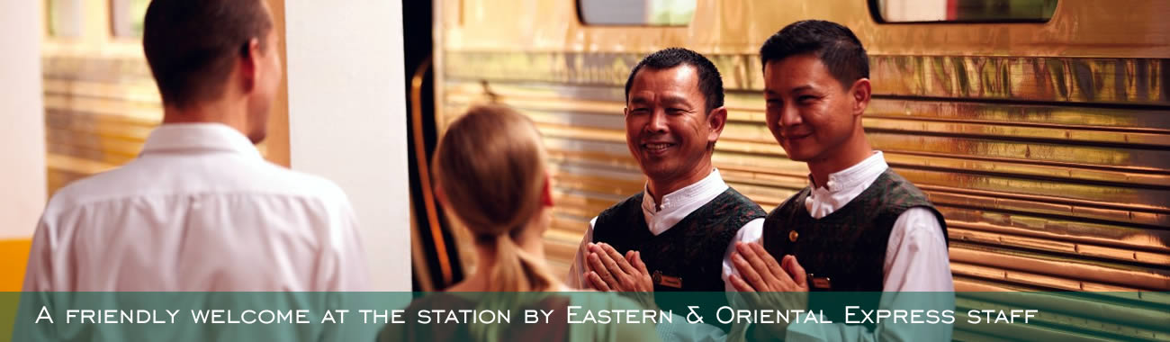 A friendly welcome at the station by Eastern & Oriental Express staff