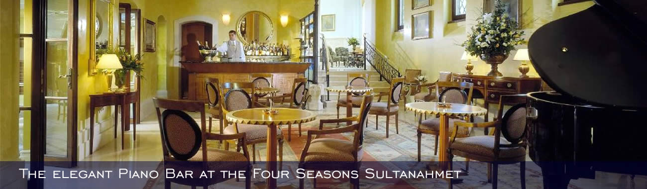The elegant Piano Bar at the Four Seasons Sultanahmet