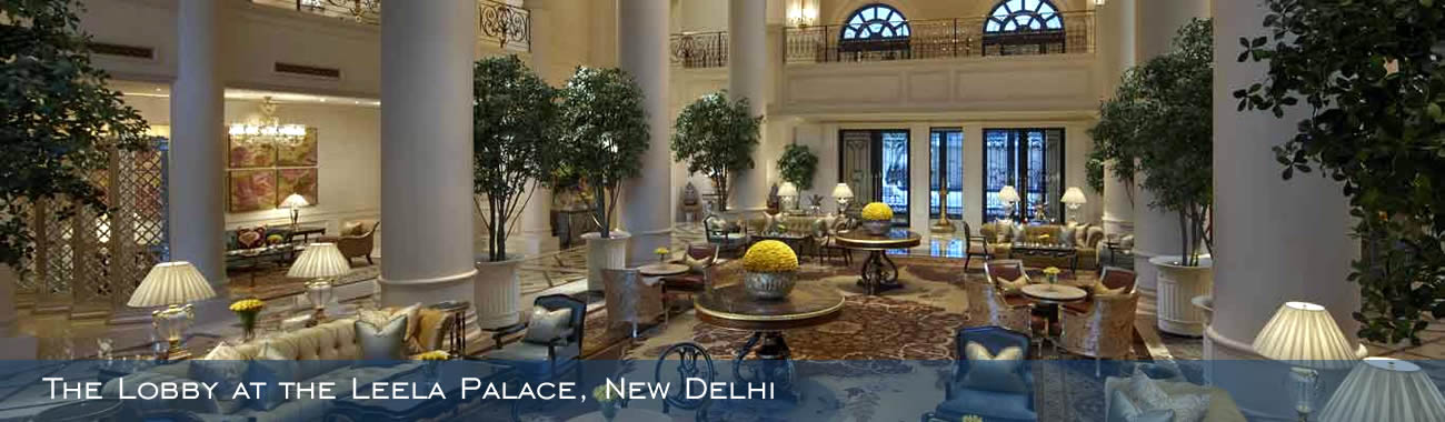 The exquisite lobby at the Leela Palace, New Delhi