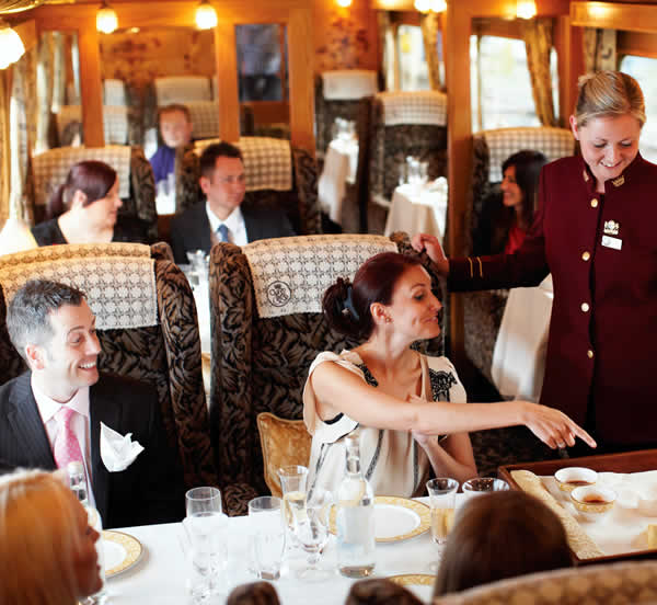 A couple enjoying a meal on the Northern belle