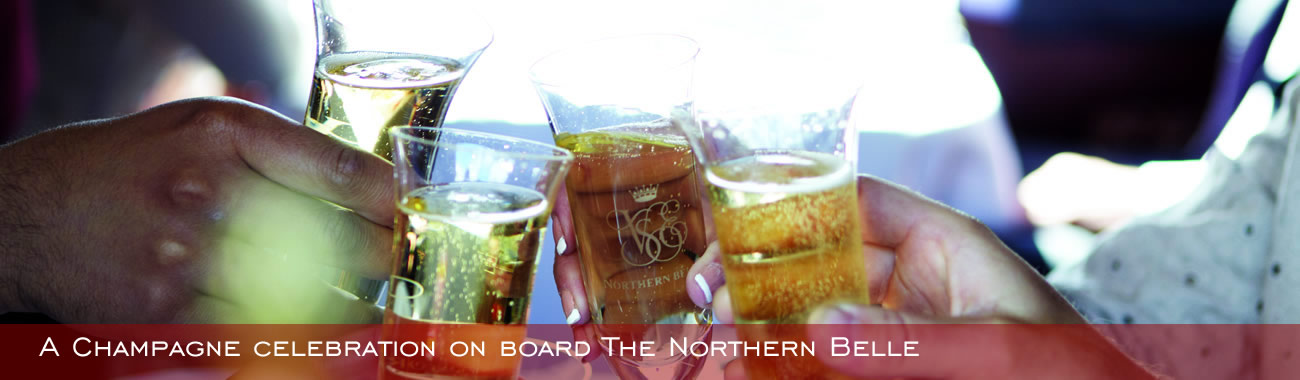 A Champagne celebration on board the Northern Belle