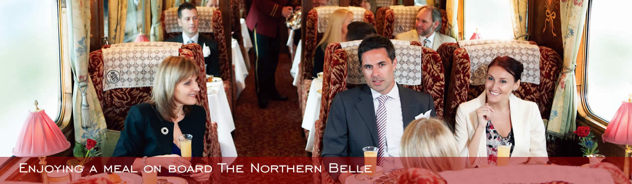 Enjoying a meal on board the Northern Belle