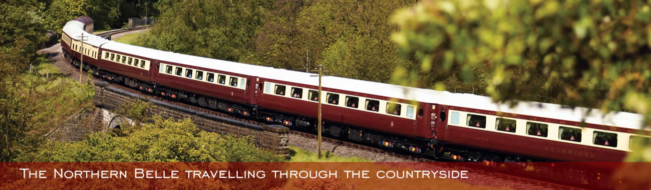 The beautiful Belmond Northern Belle travelling through the countryside