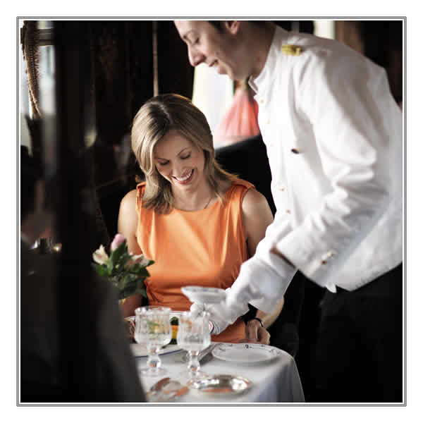 Enjoy a superb lunch served by attentive waiters