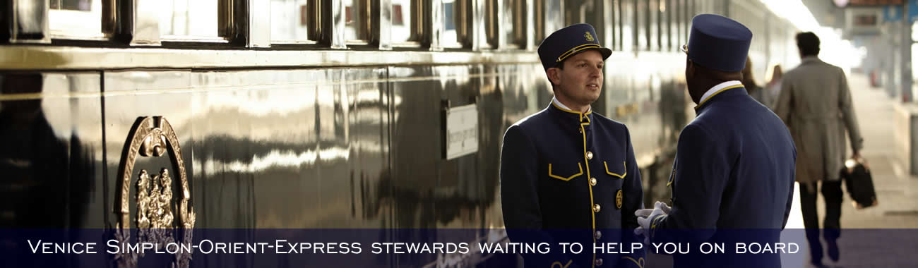 Venice Simplon Orient Express stewards waiting to greet guests