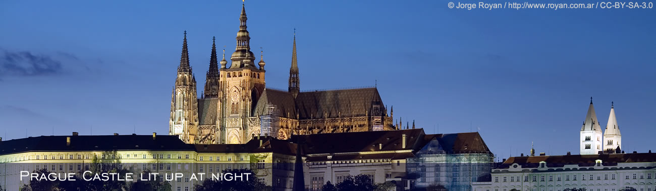 Prague Castle lit up at night
