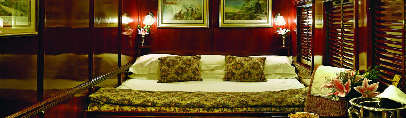 A luxurious Deluxe Double Suite on board Rovos Rail