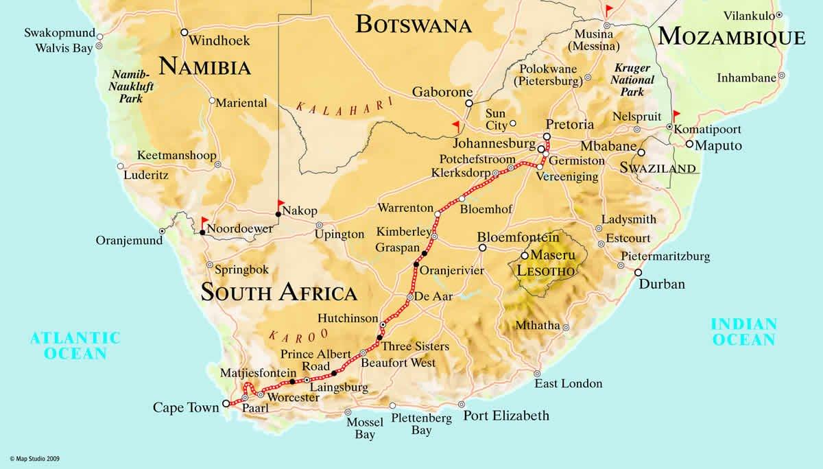 Rovos Rail Pretoria to Cape Town Map