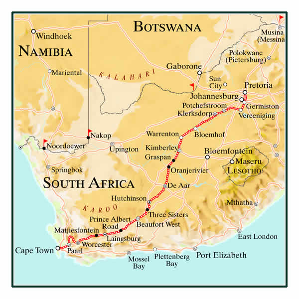 Rovos Rail Pretoria to Cape Town Map