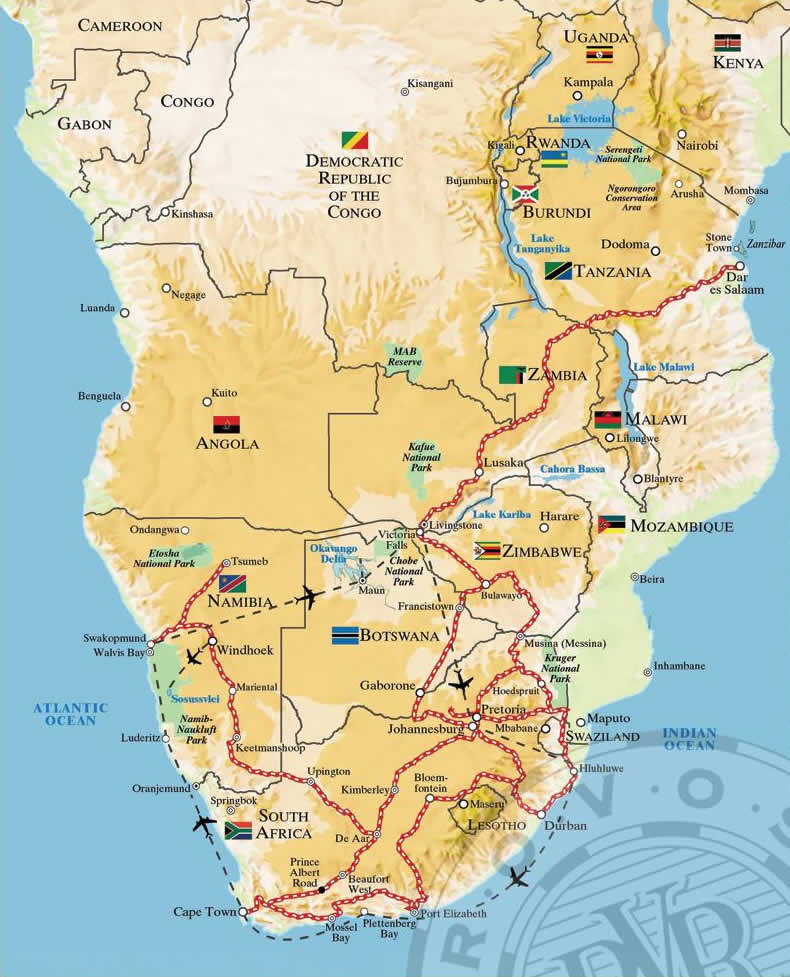 Rovos Rail Cape Town Map to Dar Es Salaam