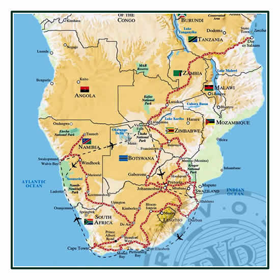 Rovos Rail Cape Town to Dar Es Salaam Map