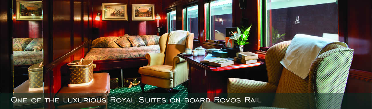One of the luxurious Royal Suites on board Rovos Rail