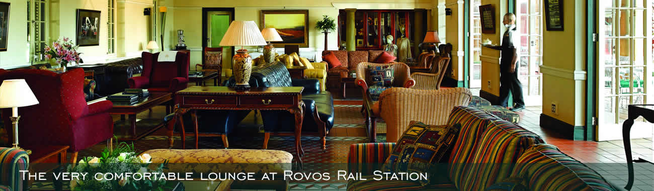 The very comfortable lounge at Rovos Rail Station