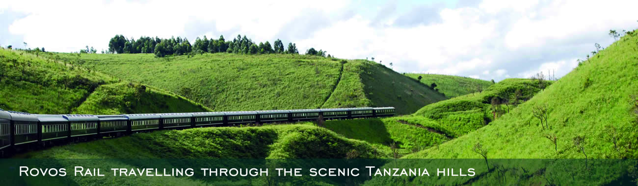 Rovos Rail travelling through the scenic Tanzania hills