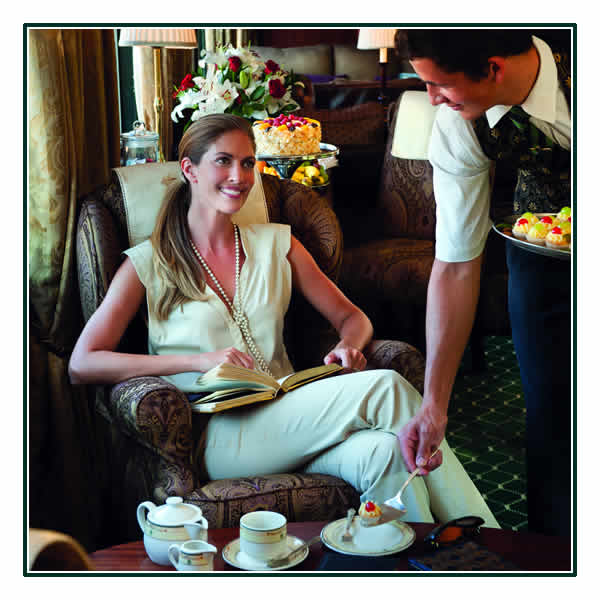 Enjoying afternoon tea in the Lounge Car