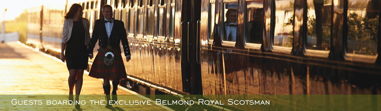 Guests boarding the exclusive Belmond Royal Scotsman