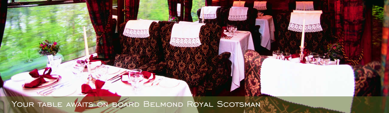 Your dining table awaits on board Belmond Royal Scotsman