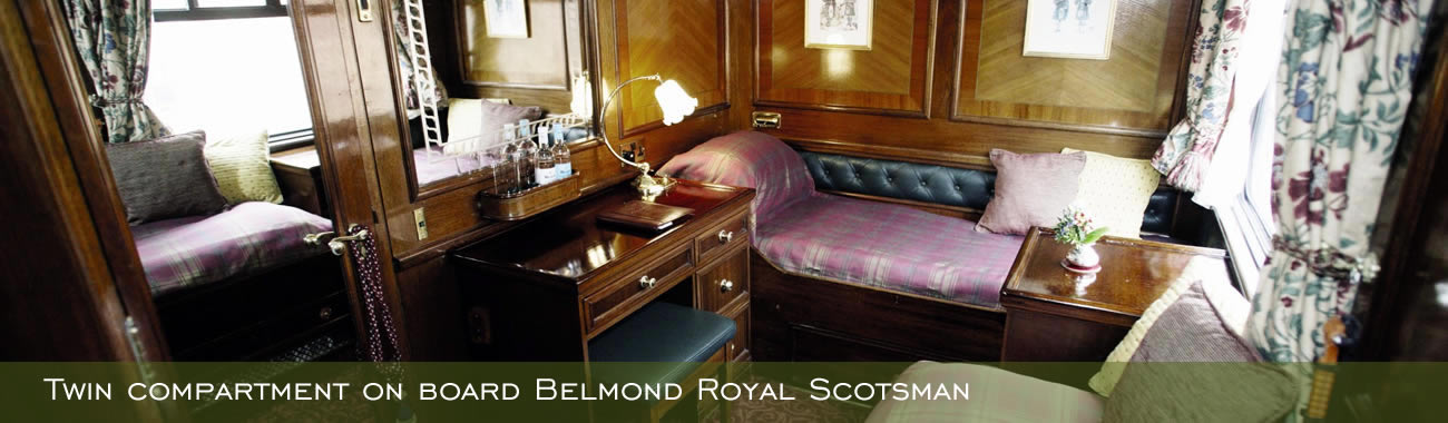 A twin cabin on board Belmond Royal Scotsman