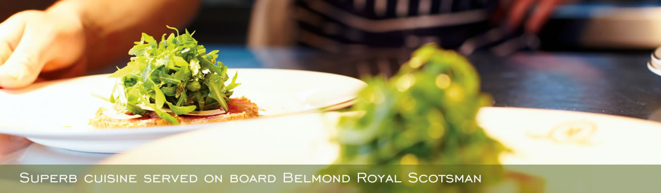 Superb cuisine served on Belmond Royal Scotsman