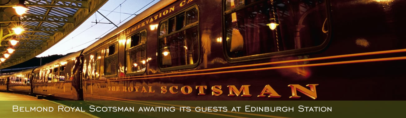 Belmond Royal Scotsman awaiting its guests at Edinburgh Station