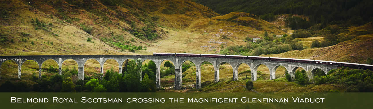 Belmond Royal Scotsman crossing the magnificent Glenfinnan Viaduct