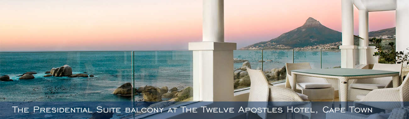 The Presidential Suite balcony at The Twelve Apostles Hotel, Cape Town