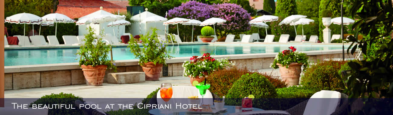 The beautiful pool at the Belmond Hotel Cipriani