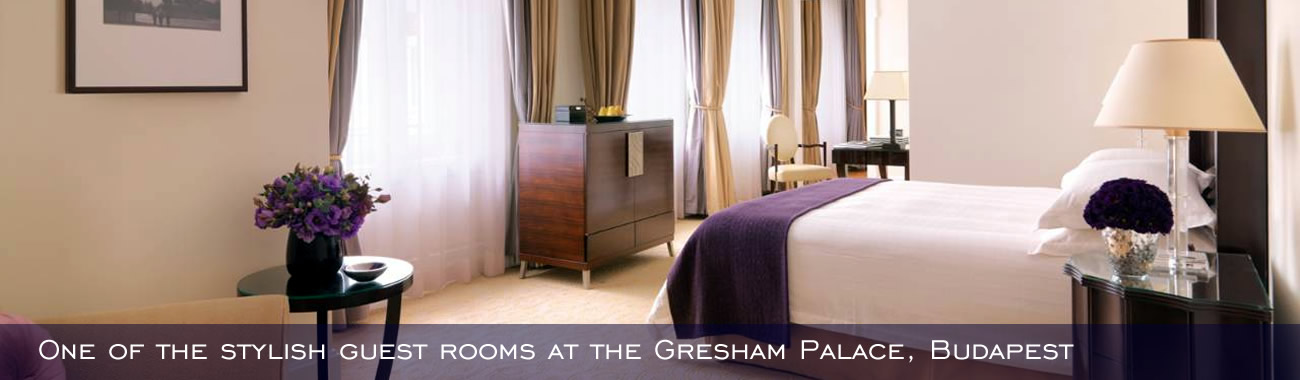One of the stylish guest rooms at the Gresham Palace, Budapest