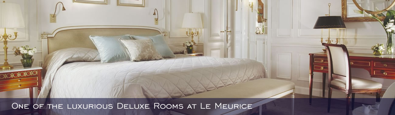 One of the luxurious Deluxe Rooms at Le Meurice