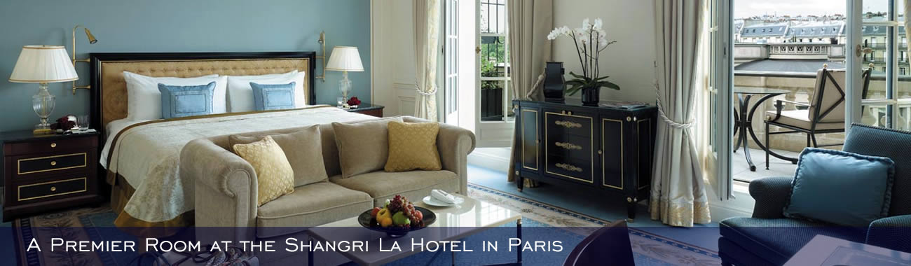 A Premier Room at the Shangri La Hotel in Paris