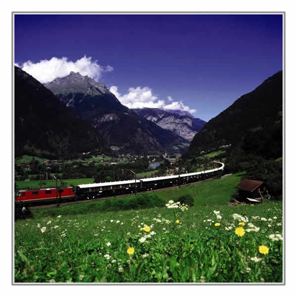 The Venice Simplon-Orient-Express travels through beautiful scenery